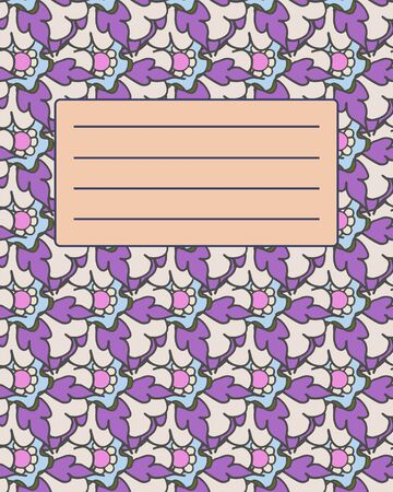 notebook cover: School notebook cover postcard invitation sample with abstract pattern Illustration