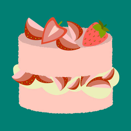 strawberry cake: Vector illustration of delicious strawberry cake