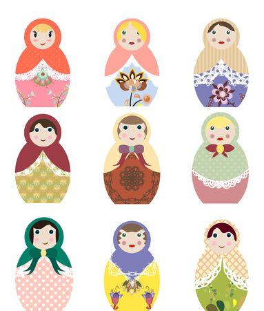 muñecas rusas: ilustraciones de vectores de muñecas rusas matryoshka conjunto de imágenes prediseñadas