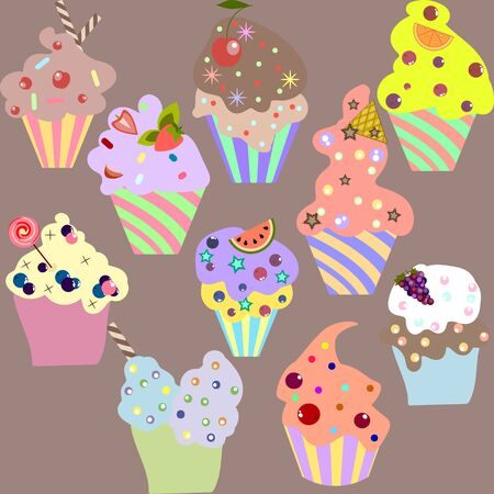 muffins: Set of delicious cupcakes, vector illustration of yummy muffins