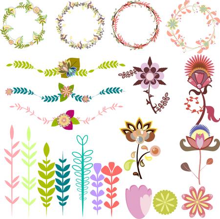 leafy: Set of different design elements, vector brushes leafy frames decorative wreaths Illustration