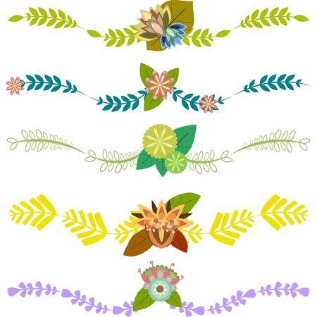 Définir des frontières de vecteur de décoration avec des feuilles et des fleurs