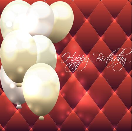 Beautiful card for birthday with red background and air balloons