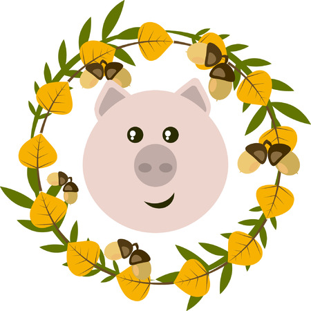 Vector illustration of pig and leafy wreath, separated illustration with pig,leaves and acorns for card,invitation, stickerlabels
