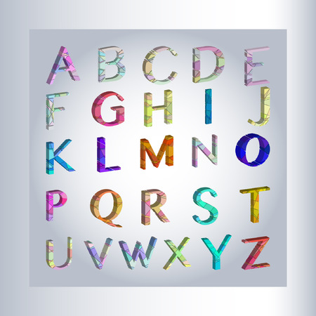 Vector 3d alphabet, separated alphabet letters with 3d effect Vectores