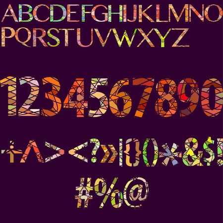 set of colorful separated numbers and symbols Illustration