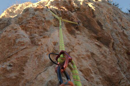 Rock climbing abseiling