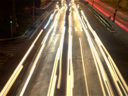 Highway night traffic long exposure forming lines