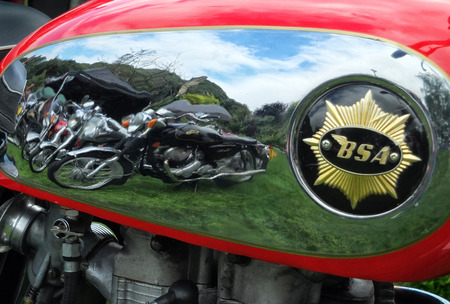 reflection though motorbike chrome fuel tank at Hebden Bridge Vintage Weekend 2016