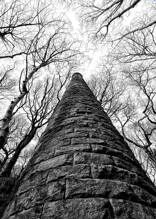 colden: old ruined mill tower in colden valley west yorkshire