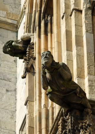 grotesques or gargoyles on the walls of york minter in england