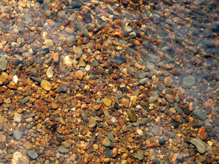 ripple: stones and pebbles on a river bed with flowing water and ripples