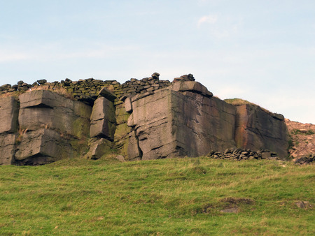 rocky outcrops boulders and stone walls in yorkshire moors Reklamní fotografie