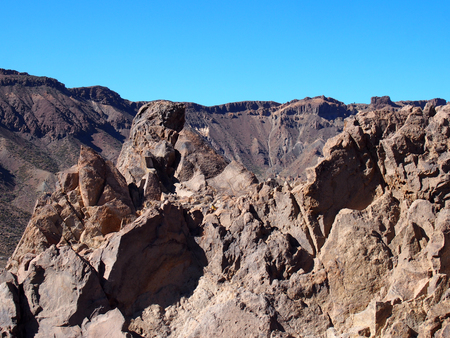 Rocky volcanic landscape of the caldera of teide national park in tenerife