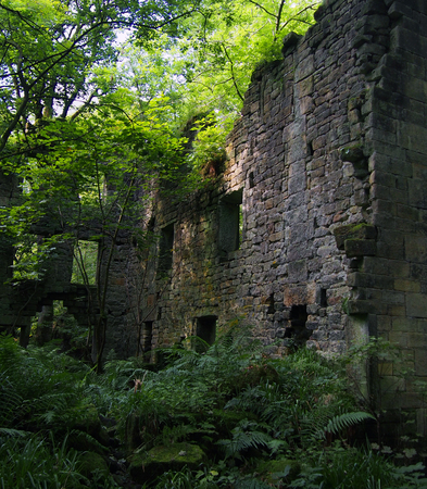 the ruins of staups mill near hebden bridge in woodland in west yorkshire  Editorial
