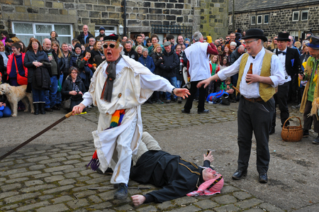 Heptonstall, UK - March 20 2018. Actors in the traditional good friday easter pace egg play in heptonstall west yorkshire Editorial