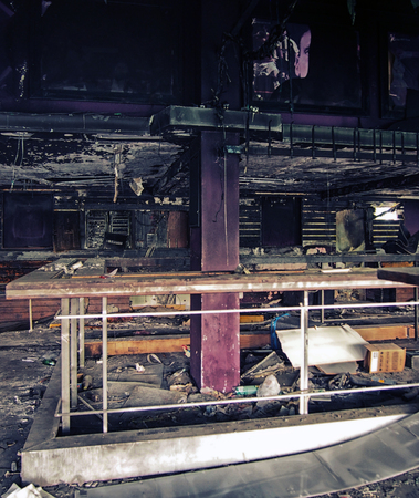 interior of an old derelict abandoned nightclub