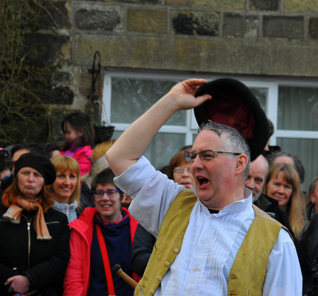 Heptonstall, UK - March 20 2018. Actor performing the traditional good friday easter pace egg play in heptonstall west yorkshire