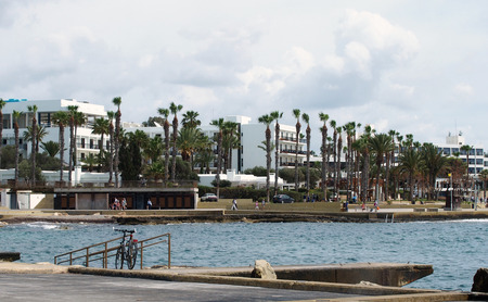 the seafront and harbour in Paphos Cyprus with promenade palm trees and buildings with bicycle parked on railings