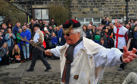 Heptonstall, UK - March 20 2018: Actors in the traditional good friday pace egg play in heptonstall west yorkshire Editorial