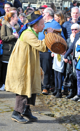 Heptonstall, UK - March 20 2018: The character tosspot in the traditional good friday pace egg play in heptonstall west yorkshire