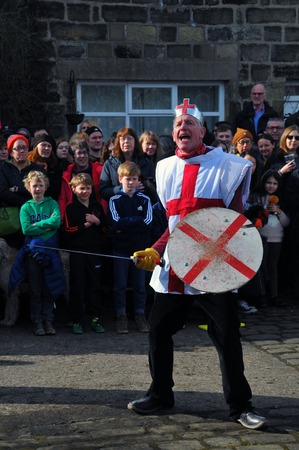 Heptonstall, UK - March 20 2018: The character saint george in the traditional good friday pace egg play in heptonstall west yorkshire