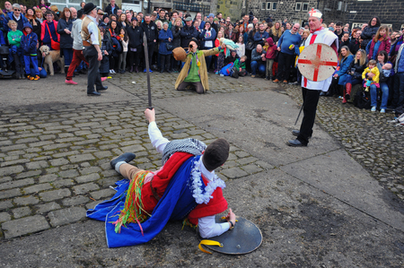 Heptonstall, UK - March 20 2018: Actors in a scene from the traditional good friday pace egg play in heptonstall west yorkshire Editorial