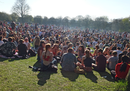 Leeds, England - April 20 2018: People in Hyde Park Leeds at the 420 protest to campaign for the decriminalization of cannabis in the uk