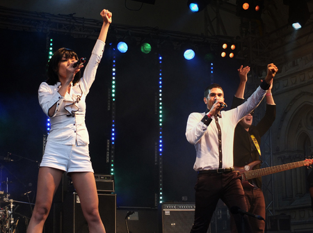 Bradford, England - July 29 2017: The band Ska Vengers performing on stage at bradford festival Editorial