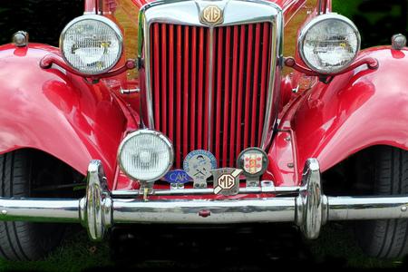 Hebden Bridge, West Yorkshire, England - August 5 2017: Red MG td vintage sports car at the Hebden Bridge Vintage Weekend 2016