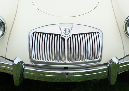 Hebden Bridge, West Yorkshire, England - August 5 2017: The front grill and bumper of an MG MGA sports car at the Hebden Bridge Vintage Weekend