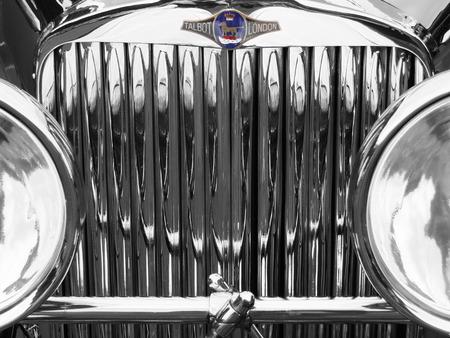 Hebden Bridge, West Yorkshire, England - August 5 2017: Old chrome car radiator with talbot badge at Hebden Bridge Vintage Weekend