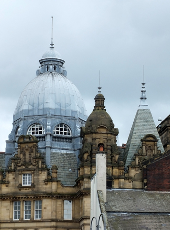 Ornate roof dome and towers of Leeds city market in west Yorkshire 写真素材