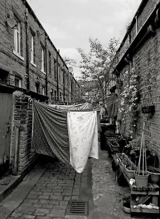 back alley of traditional british terraced houses with washing on lines and plants in post taken in hebden bridge west yorkshire