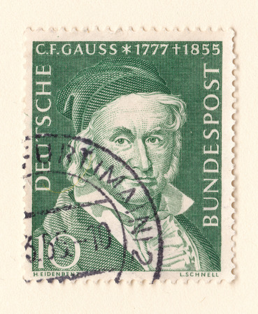 Leeds, England - May 28 2018: An old red east german stamp with an image