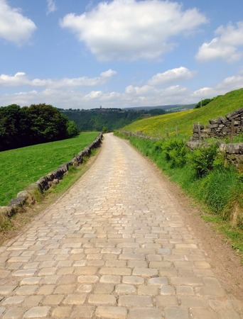 long cobbled stone stone road running downhill in beautiful yorkshire dales countryside with green summer meadows with woodland valley in the distance and blue sky with clouds