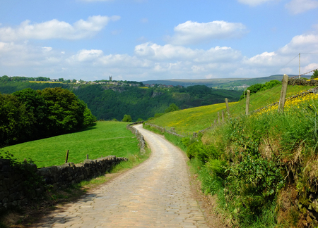 long curved cobbled stone stone road running downhill in beautiful yorkshire dales countryside with green summer meadows with woodland valley in the distance and blue sky with clouds Stock Photo