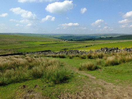 scenic view of a path on the edge of moorland in calderdale west yorkshire with rough tussock grass with dry stone walls bordering pastureland with farmhouses and pennine hills visible in the distance 写真素材