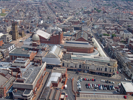 Blackpool, Lancashire, England - June 9 2018: aerial view of blackpool showing streets of the town centre and the winter gardens building