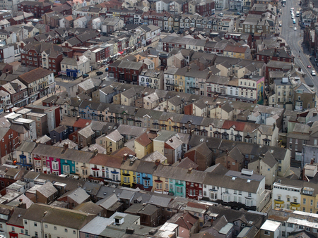 Blackpool, Lancashire, England - June 9 2018: aerial view of blackpool showing streets of typical small hotels and guest houses