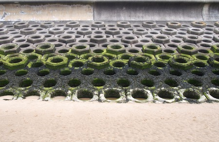 concrete defensive sea wall on a sandy beach showing seaweed on the high tide mark and the precast hexagonal construction