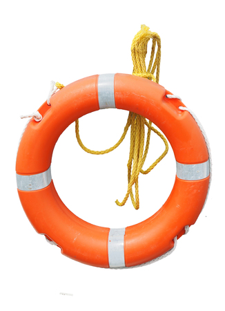 orange lifebelt or life preserver with yellow rope isolated on a white background 스톡 콘텐츠