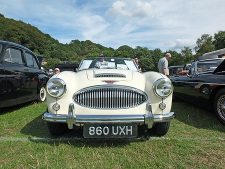 Hebden Bridge, West Yorkshire, England - August 4 2018: front view of a classic white Austin Healey 3000 Sports car at the Annual Hebden Bridge Vintage Weekend Vehicle Show