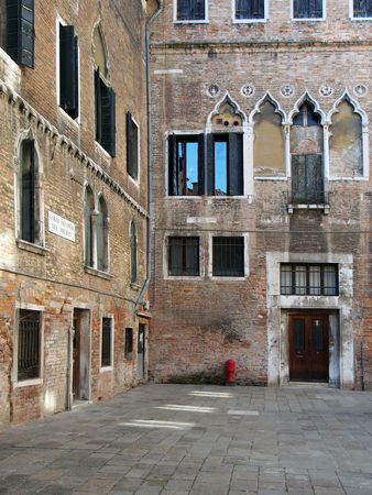 Venice, Italy: The Corte Seconda del Milion medieval courtyard of marco polo in Venice