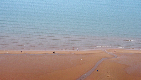 aerial view of blackpool beach and the sea with waves Stock Photo