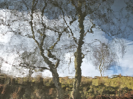 a reflection of a tree and hillside blurred by rippling water with blue cloudy sky