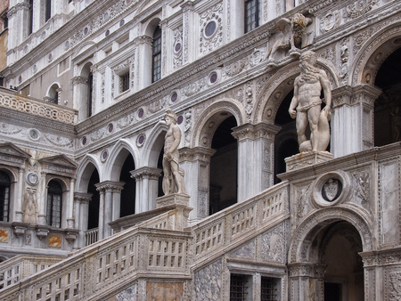 close up of the the giants staircase in the courtyard of the palazo ducale in venice italy Stock Photo