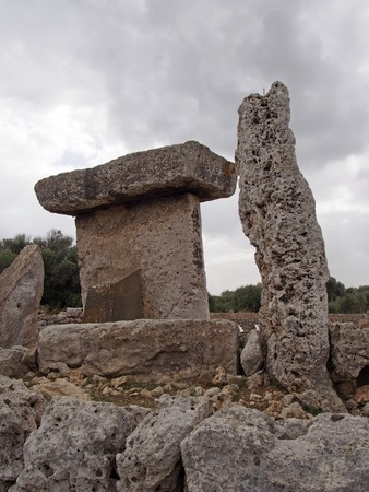 Talaiot de Trepuco megalithic t-shaped Taula monument in sunny day it Menorca Spain