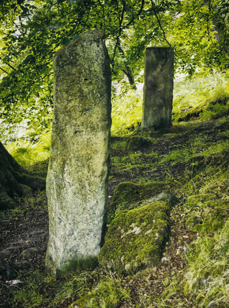 two ancient standing stones underneath overhanging branches in woodland Stock Photo