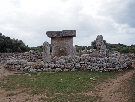 The Talaiotic village of Trepuco Minorca Balearic Islands with t shaped megalith and enclosing walls Stock Photo